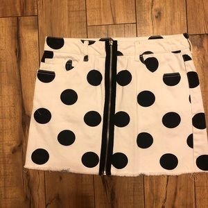 Polka dot jean skirt